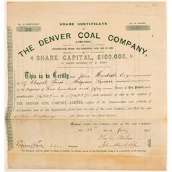 Denver Coal Company, Ltd. Stock Certificate  106892