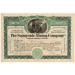 Sunnyside Mining Company Stock signed by Lovejoy (Carnegie Steel Secretary)  105854