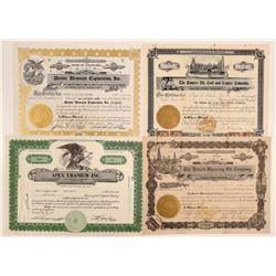 Colorado Oil and Uranium Stock Certificates  105922