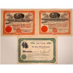 Three Big Creek District, Idaho Mining Stock Certificates  107524