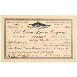 Last Chance Mining Company Stock Certificate  106680