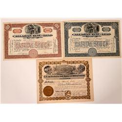 Three Different Shoshone, Idaho Mining Stock Certificates  107527