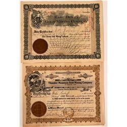Two Different Thunder Mountain, Idaho Mining Stock Certificates  107526