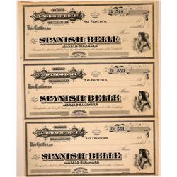 Spanish Belle Mining Company Stock Sheet  107531