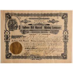 Balloon Hill Mascot Mining Company Stock Certificate  108589