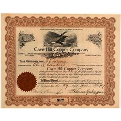 Cave Hill Copper Company Stock Certificate  106678