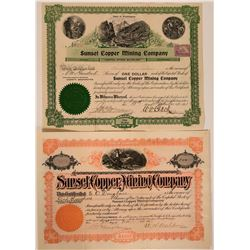 Sunset Copper Mining Company Stock Certificate Pair  107611