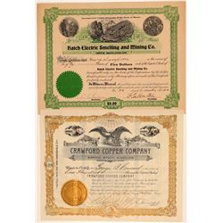 Two Different Wisconsin Mining Stock Certificates  106913