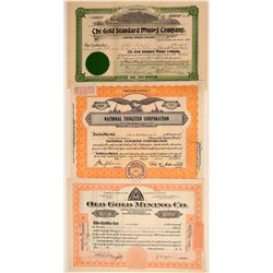 Three Different Wyoming Mining Stock Certificates  106714