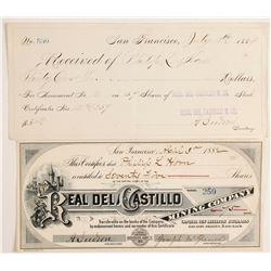 Real del Castillo Mining Company - Mexican stock certificate  89817