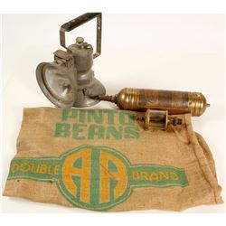 Mining Lamp, Brass Extinguisher and Oil Gauge  89133