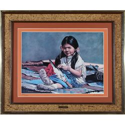"Framed ""Little Indian Girl"" Print by McMahan  87647"