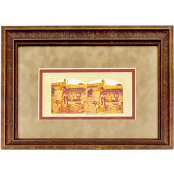Moki Indian at Home Stereo View (Framed)  102728