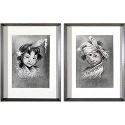 Moritz Flagg Native American Children Prints (2)  87736