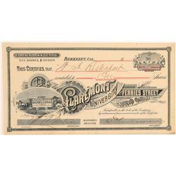Claremont University & Ferries Street Railroad Co. Stock Certificate  106861