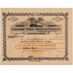 Cahuenga Valley Railroad Company Unissued Stock Certificate  106890