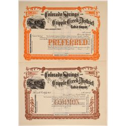 Colorado Springs & Cripple Creek District Railway Co. Stocks (2)  106878