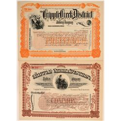 Two Different Cripple Creek District Railway Co. Stocks  106877