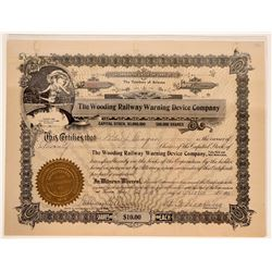 Wooding Railway Warning Device Co. Stock Certificate  107436