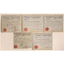 Charles River Branch Rail Road Co. Stock Certificates (5)  107593