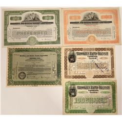 Five Different Brooklyn Railroad Stock Certificates  107603