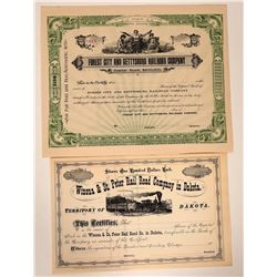 Three Different South Dakota Railroad Stock Certificates  107442