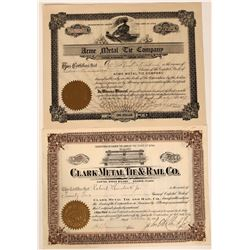 Railroad Tie Company Stock Certificate Pair  107502