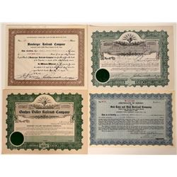 Four Different Utah Railroad Stock Certificates  107454