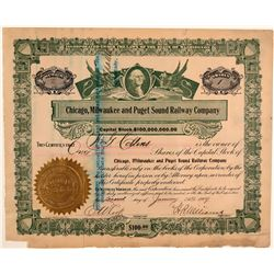Chicago, Milwaukee & Puget Sound Railway Co. Stock Certificate No. 2  106758