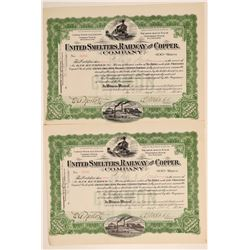 United Smelters, Railway & Copper Co. Stock Certificate Pair  106782