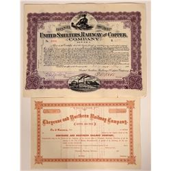 Two Different Wyoming Railroad Stock Certificates  107440