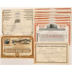 Missouri / Kansas Railway Stock Certificates (13)  106194