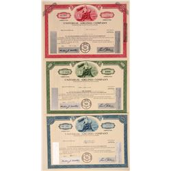 Universal Airlines Company Stock Certificates (3)  106695