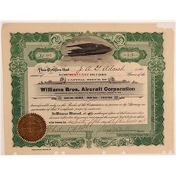 Williams Bros. Aircraft Corporation Stock Certificate  106829