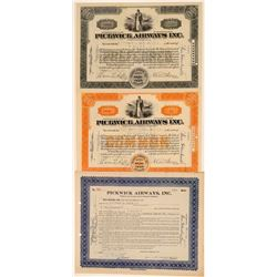 Pickwick Airways Inc. Stock Certificate Trio  106696