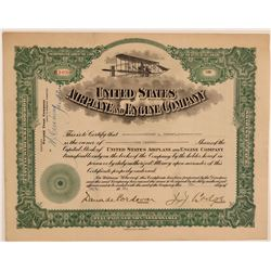 United States Airplane & Engine Company Stock Certificate  106830