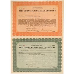 Viking Flying Boat Company Stock Certificate Pair  106907