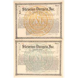 Stevens Duryea, Inc. Stock Certificate Pair  106812