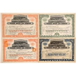 Four Different Hudson Motor Car Company Stock Certificates  106741