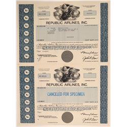 Republic Airlines, Inc. Stock Certificate Pair  106833