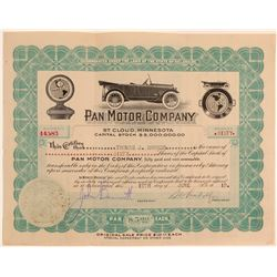 Pan Motor Company Stock Certificate Signed by Pandolfo  106854