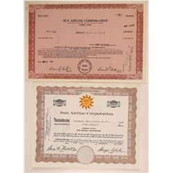 Sun Airline Corporation Stock Certificate Pair  106832