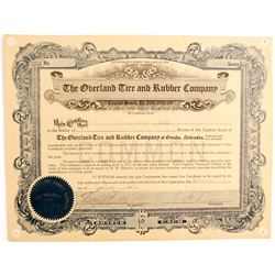 Overland Tire and Rubber Company Stock Certificate  89738