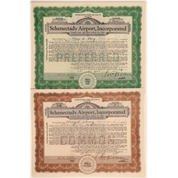Schenectady Airport, Inc. Stock Certificate Pair  106901