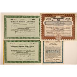 Historic New York Airlines Stock Certificates  106908