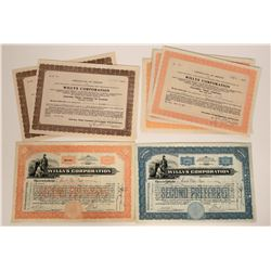 Seven Willys Corporation Stock Certificates  107590