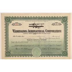 Washington Aeronautical Corporation Stock Certificate  106904