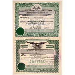Caribbean-Atlantic Airlines, Inc. Stock Certificate Pair  106835
