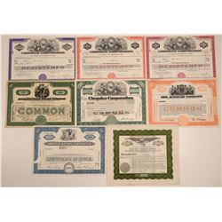Eight Different Automobile Stock Certificates  106733