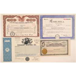 Four Different Aviation Company Stock Certificates  106839